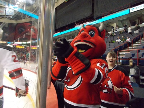N.J. Devil taking in warmups...