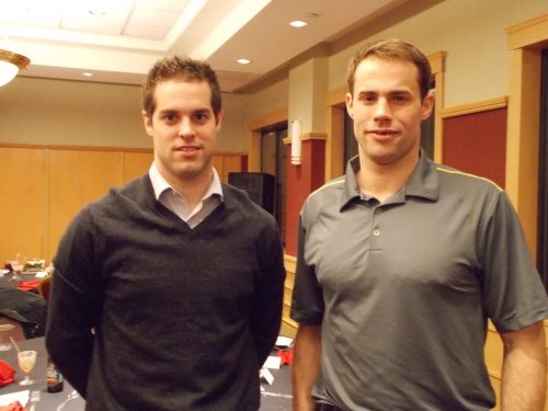 My dinner guests for the evening, the brothers Zajac (Kelly on the left, Darcy next to him)