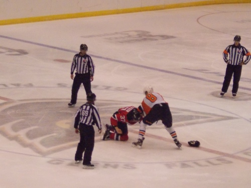 Seth Helgeson's ill-fated fight at center ice.