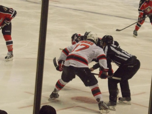 Scott Timmins with the faceoff...
