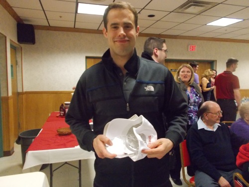 Since Mike Sislo couldn't make the dinner, Darcy Zajac got to haul all his hardware.