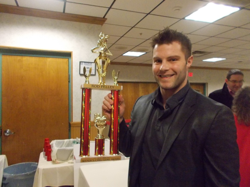 Rod Pelley and his awesome Chili Goal trophy.
