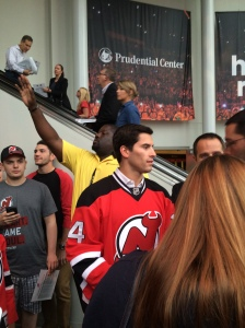 Adam Henrique greeting fans in the Towers...