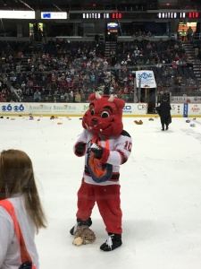 Devil Dawg helping with the annual Teddy Bear Toss